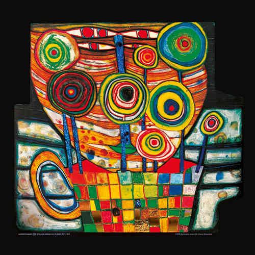 Hundertwasser Kunstdruck - The blob grows in a flower pot (nach Oeuvre 725)