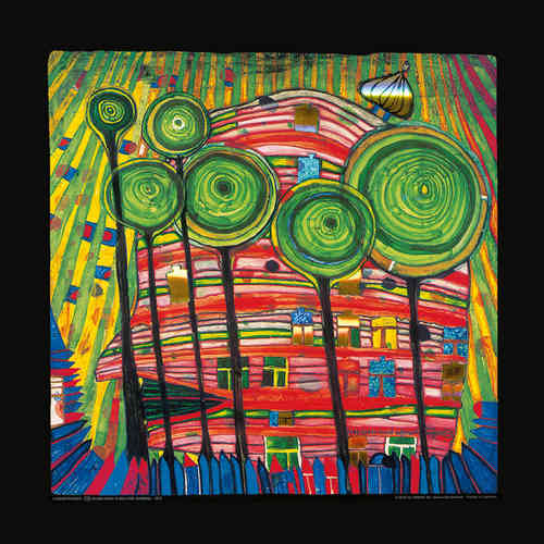 Hundertwasser Kunstdruck - Blobs grow in beloved gardens (nach Oeuvre 745)