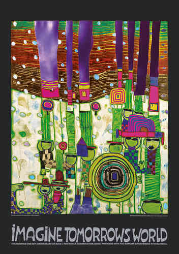 Hundertwasser Originalposter - Imagine tomorrows world (grüne Version) - nach Blue Blues 944