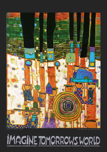 Hundertwasser Originalposter - Imagine tomorrows world (orange Version) - nach 944 Blue blues