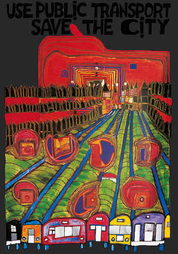 Hundertwasser Originalposter - Save the city (nach Oeuvre 553)