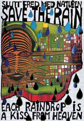 Hundertwasser Originalposter - Save the rain (nach Oeuvre 690)