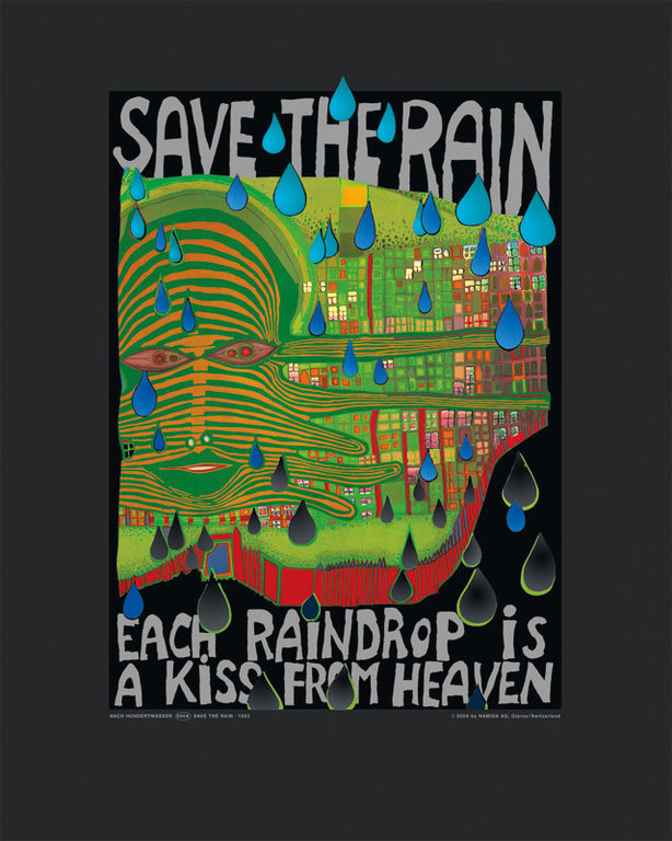 hundertwasser painting save the rain as premium art print