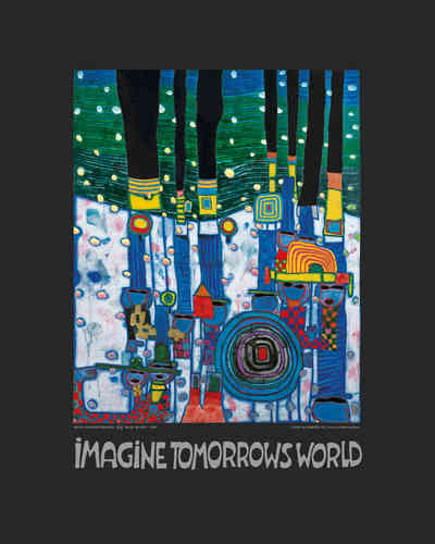Hundertwasser Kunstdruck - Imagine Tomorrows world - Blue Blues (nach Oeuvre 944)