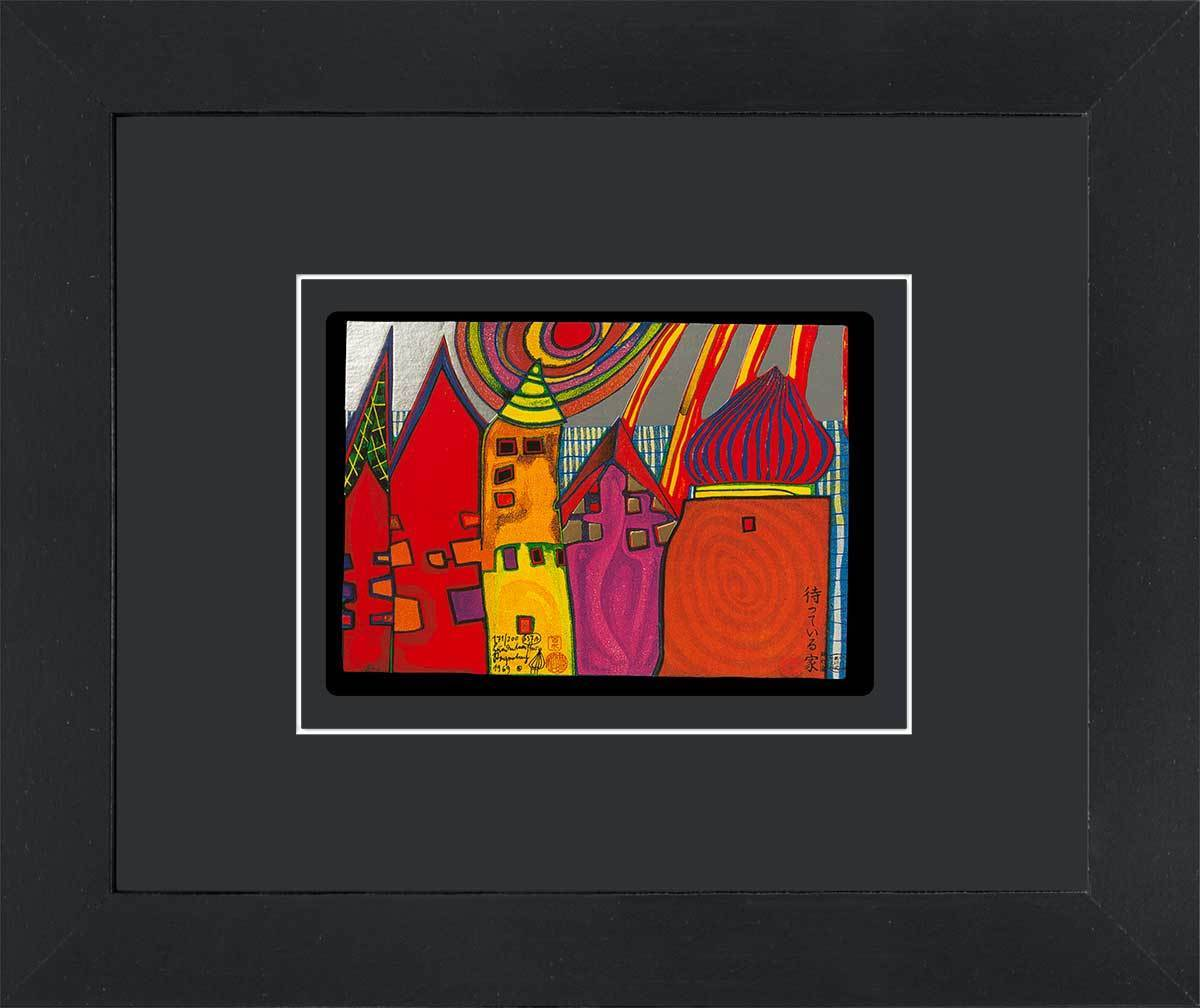 Gerahmte Hundertwasser Kunstkarte WARTENDE HÄUSER kaufen
