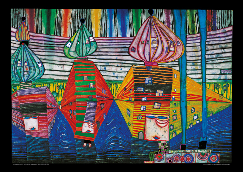 hundertwasser bild resurrection of architecture als kunstdruck kaufen. Black Bedroom Furniture Sets. Home Design Ideas