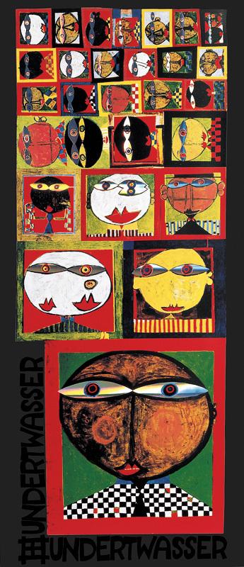 Hundertwasser We live in paradise Poster Bild Kunstdruck im Alu Rahmen 48x48cm