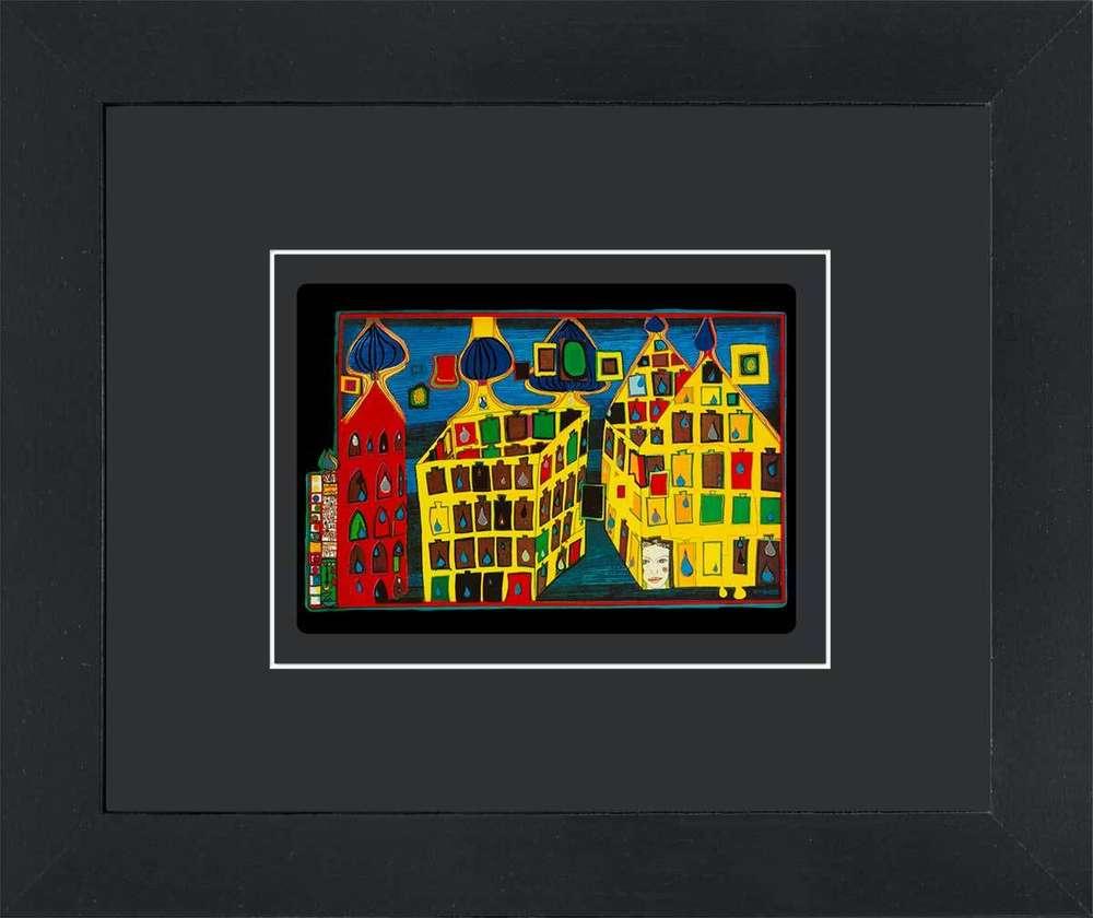 3 gerahmte Kunstkarten im Set - Hundertwasser Bilder