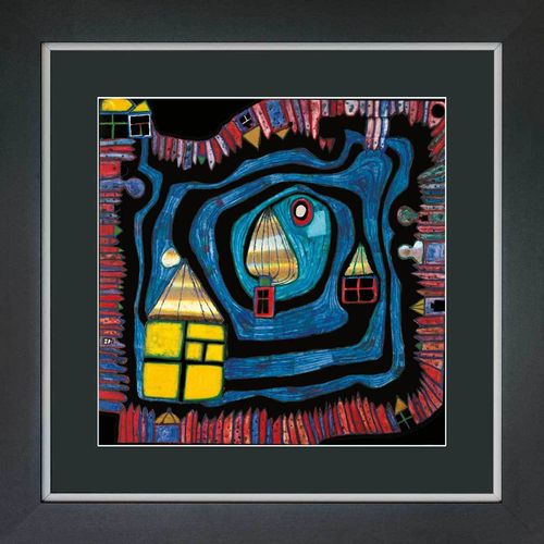 hundertwasser bilder mit rahmen gerahmte poster von hundertwasser. Black Bedroom Furniture Sets. Home Design Ideas