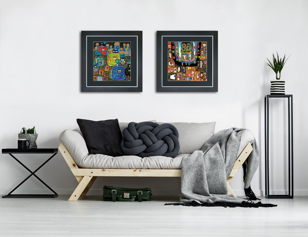 2 hundertwasser bilder mit rahmen g nstig im set. Black Bedroom Furniture Sets. Home Design Ideas