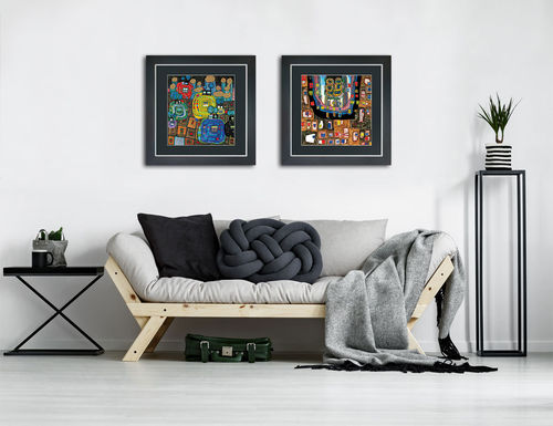 framed Hundertwasser art prints in a set of two