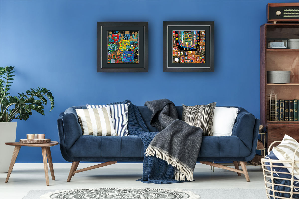 2 hundertwasser bilder mit rahmen g nstig im set. Black Bedroom Furniture Sets. Home Design Ideas