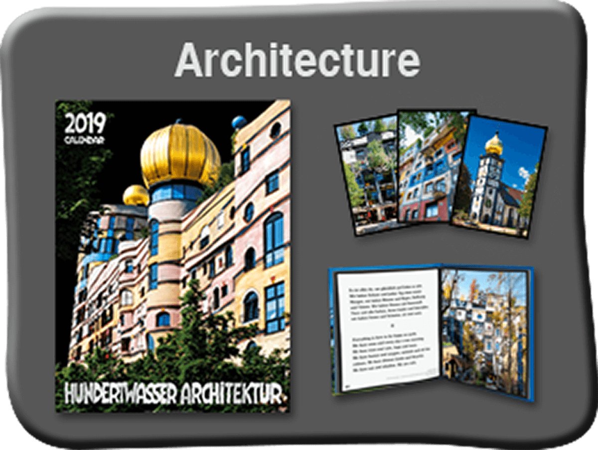 Buy hundertwasser paintings posters and calendars from for Architecture hundertwasser